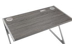 Weathered Grey Wood Metal Rectangle Writing Desk