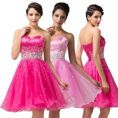 Hot Pink Beaded SHORT Organza Evening Dance Gown Wedding Bridesmaid Prom Dresses #GraceKarin #BallGown #Clubwear