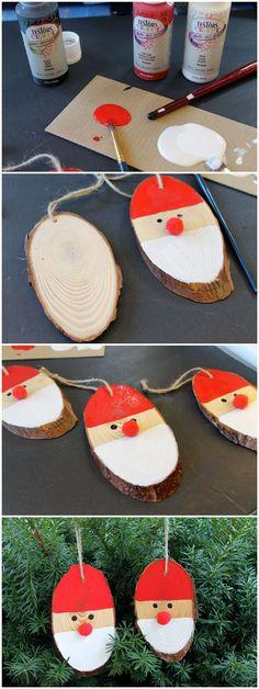 Wood Slice Santa Ornaments Wood Christmas Tree, Christmas Gift Tags, Christmas Crafts For Kids, Christmas Wishes, Christmas Fun, Holiday Crafts, Santa Ornaments, Diy Christmas Ornaments, Christmas Decorations