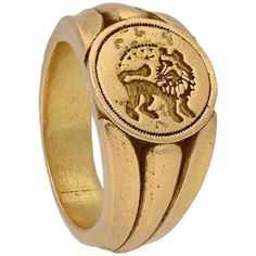 Medieval Signet Ring with Lion, circa 15th Century 15th Century, Signet Ring, Vintage Rings, Lion, Sapphire, Women's Fashion, Diamond, Antiques, Gold