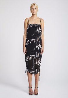 Shona Joy - Ruched Slip Dress In Shadows