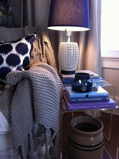 Tiered tables in reading nook to allow for extra space when needed and easy store away when not.