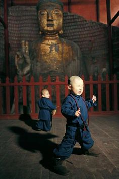 Children in monk costumes, via Discover China
