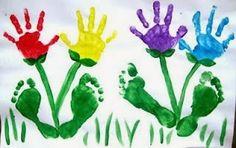 EL ARTE DE EDUCAR - hand and foot print flowers
