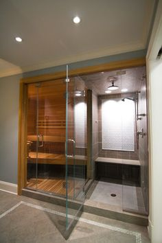 Nice home feature Steam room and Sauna in the home great to add to a pool house, home gym. Home Steam Room, Sauna Steam Room, Sauna Room, Steam Room Shower, Sauna A Vapor, Dry Sauna, Bad Inspiration, Bathroom Inspiration, Shower Remodel