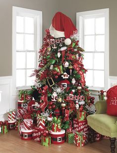 Santa Theme Christmas Tree ~ let the jolly old elf inspire your holiday decor.