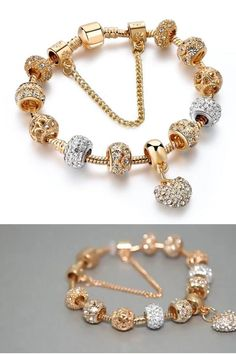 Pandora Bracelet Gold, Pandora Jewelry, Jewelry Design Earrings, Cute Jewelry, Gold Mangalsutra Designs, Fashion Jewelry, Women Jewelry, Schmuck Design, Bridesmaid Jewelry