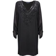 Beaded Navy French Connection Cocktail Dress NWT! Total elegance! 100% silk exterior with extensive beading at neckline and sleeve cuffs. Fully lined with 100% rayon. Navy silk and black beads. Brand new and in perfect condition! Size 6 but also works on a smaller frame due to the oversized nature of the fit. French Connection Dresses Mini