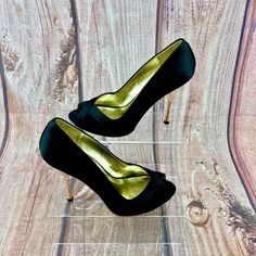 Womans Ted Baker peep toe court Shoes Black Satin Rose Gold high Heel stiletto 5