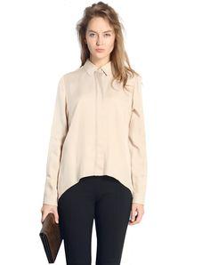 #AdoreWe #VIPme Blouses & Shirts - SAINTY Apricot Plain Long Sleeve Casual Shirt - AdoreWe.com