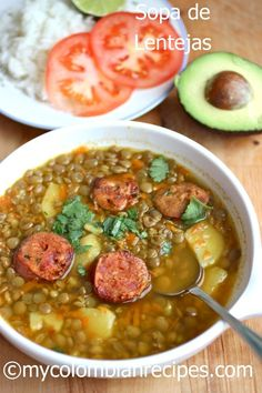 Sopa de Lentejas Colombiana- I made this lentil soup recipe with Bison sausage… My Colombian Recipes, Colombian Cuisine, Colombian Lentils Recipe, Colombian Dishes, Healthy Recipes, Mexican Food Recipes, Cooking Recipes, Ethnic Recipes, Kitchen Recipes