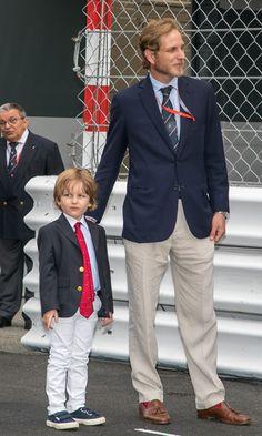 Monacos Pierre Casiraghi, Andrea Casiraghi, son Sacha attend Grand Prix