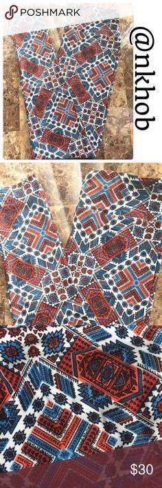 Lularoe One Size Leggings Aztec print Lularoe One Size Leggings. Colors are white, blue, brown, black, red, burnt orange! Fits sizes 2-12. NWOT LuLaRoe Pants Leggings