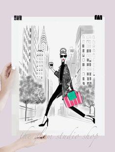 Ilustración Nueva York compras regalo Idea Fashionista Tiffany de Victoria Secret arte impresión hogar deco habitación decoración regalo de moda para ella