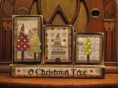 wooden block Christmas ornaments