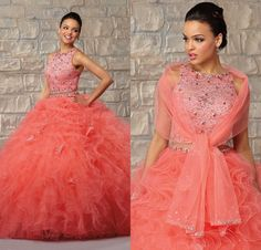 Find More Quinceanera Dresses Information about Cute Organza Ruffled Dress 15 Years Two Pieces Coral Quinceanera Dresses 2015 Ball Gown With Wrap Beaded Top vestido de 15 anos,High Quality Quinceanera Dresses from My Dresses on Aliexpress.com