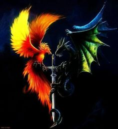 # PHOENIX AND THE DRAGON Our fight to rise new out of a fiery destruction to ashes, returning pure and cleansed. How long will that purity last? Mythological Creatures, Fantasy Creatures, Mythical Creatures, Phoenix Dragon, Phoenix Art, Phoenix Animal, Phenix Tattoo, Supernatural Tattoo, Mystic Moon