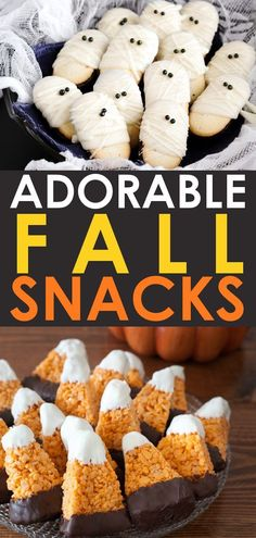 30 Adorable Halloween Treats and Fall Snacks! Take the fall season to the next level with these fun fall treats and Halloween snacks! snacks, 30 Easy Fall Snacks and Halloween Treats Halloween Desserts, Halloween Treats For Kids, Halloween Cupcakes, Halloween Potluck Ideas, Halloween Snacks For Kids, Halloween Dishes, Halloween Makeup, Fall Snacks, Fall Treats