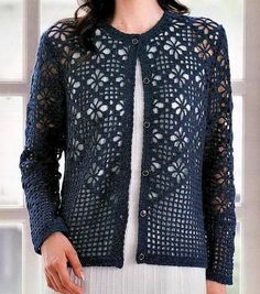 Crochet Sweater: Cardigan - Crochet Cardigan Pattern  I feel like this is a sweater for a thin person with no boobs but I would really love to adapt it as a wrap or scarf...