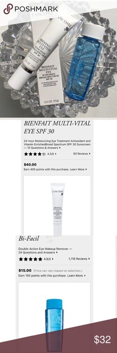 NWT! Lancôme Bienfait Multi-Vital Eye Cream. BNIB! NWT! Lancôme Bienfait Multi-Vital Eye Cream. BNIB! Full Product! Hydrates Dehydrated Lines Around the Eyes. Enriched w/ Caffeine to Help Reduce Puffiness & Bi-Facils Travel. TOTAL VALUE $55.00. No Returns. Lancome Makeup Eye Primer