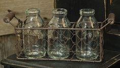 French Country Chic Chicken Wire Basket with Three Bottles Jar Vase Holder | eBay