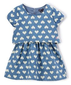 Take a look at this Medium Blue Wash Heart Popover Dress - Toddler & Girls today!