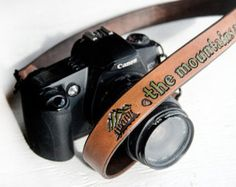 Leather Camera Strap - The mountains are calling and I must go - John Muir quote - travel themed, wanderlust
