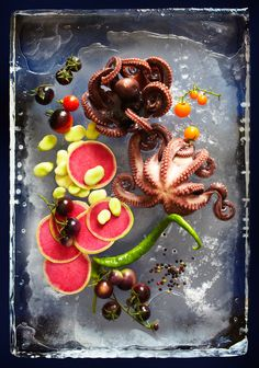 Annabelle Breakey, commercial, editorial, food, still life and product photographer, Octopus + Radish on Ice