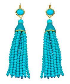 Kenneth Jay Lane Turquoise Beaded Tassel Earrings