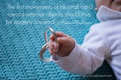 Discovering the hand for Montessori babies. First grasping and batting materials for infants including tactile mobiles.
