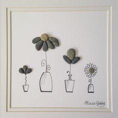 CUSTOM ORDER: 'Pretty Pots' 22cm x 22cm #pretty #prettypots #flowerpots #flowers #pebbleflower #cute #doodles #drawing #perfectgift #sweet #unique #missoliviaart