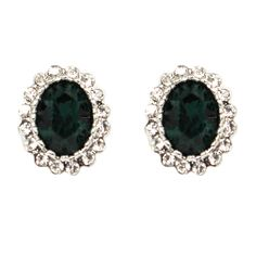 CHIC! Emerald Stud Clip On Earrings