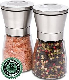 Salt and Pepper Grinder  Shaker Set By Kitchen De Lujo  Large Manual Adjustable Coarseness W Ceramic Mill  Perfect For Organic Spice Dry Peppercorn Black Pepper and Himalayan Salt -- For more information, visit image link. Note:It is Affiliate Link to Amazon.
