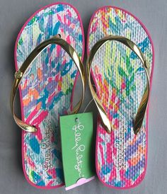 792e192b66b550 NWT Lilly Pulitzer Flip Flop Sandals Multi Sparkling Sands Size 5 6   fashion  clothing  shoes  accessories  womensshoes  sandals (ebay link)