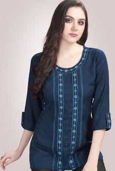Half Saree Designs, Blouse Designs, Trendy Kurti, Plain Kurti, Mirror Work Blouse Design, Churidar Neck Designs, Ethnic Fashion, Tunic Tops, Edwardian Dress