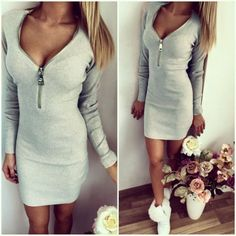 Sexy Women Mini Dress Zipper Solid Color V Neck Long Sleeve bodycon Casual T-Shirt Dress