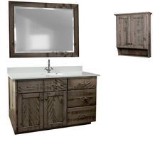 Amish Breckinridge Rough Sawn Three-Piece Bathroom Vanity Set Without Top Attractive wood furniture set to supply your bathroom with storage and solid wood beauty. Custom options available to personalize this set for your home. #bathroomvanity