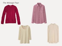 A Four by Four Wardrobe in Berry, Beige, Navy and Brown