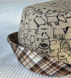 boy's bucket hat dog park plaid reversible 5 sizes by tweeddesigns, $24.00