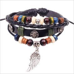 Wing Feather Charm Handmade Genuine Leather Adjustable Bracelet Wristband Jewelry Valentine's Day Gift Men Women bracelets