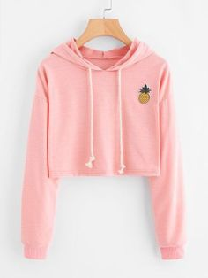 Crop Tops Sweatshirt Pineapple Embroidery Gingham Plaid Hoodies Pullover Color black Size S Teen Fashion Outfits, Tween Fashion, Outfits For Teens, Summer Outfits, Girl Outfits, Girl Fashion, Fashion Clothes, Crop Top Hoodie, Cropped Hoodie