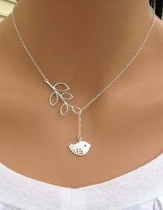 Detailed Bird and Branch lariat necklace in STERLING SILVER. $26.00, via Etsy.