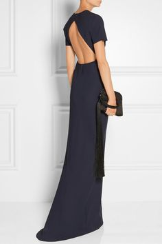 Elizabeth and James Leona Open-Back Stretch-Ponte Gown