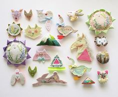 """artisticmoods: """"I love animals, I love embroidery and I love pretty pastel colors. So I ADORE these embroidered creations by Japanese artist Mari Kamio. More posted on the. Contemporary Embroidery, Modern Embroidery, Embroidery Art, Embroidery Designs, Felt Crafts, Diy And Crafts, Arts And Crafts, Sewing Crafts, Sewing Projects"""