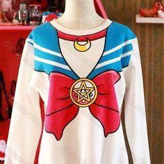 Sailor moon harajuku sweater fake faux top cute kawaii cosplay Japan anime white