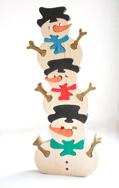 Puzzle 3 Snowmens. Handmade wooden puzzle by ArtGiftStoreEcoToys