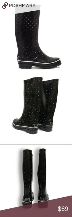 """Kate Spade black rain boots with polka dots size 6 Pre-loved Kate Spade black rain boots size 6. Features cream polka dots throughout and white piping detail along bottom.  Kate Spade logo at back.  13 1/2"""" tall;  14"""" circumference;  EUC When life gives you rainy days, wear cute Kate Spade boots and jump in puddles! kate spade Shoes Winter & Rain Boots"""