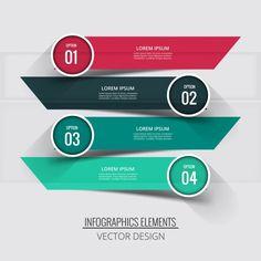 Cuatro banners con etiquetas circulares para infografías Vector Gratis