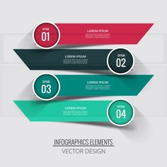 Four banners with circular labels for infographics Free Vector