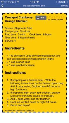 Cranberry Orange Chicken Crock Pot Food, Crock Pot Freezer, Crockpot Dishes, Crock Pot Slow Cooker, Slow Cooker Recipes, Crockpot Recipes, Cooking Recipes, Slow Cooking, Freezer Meals